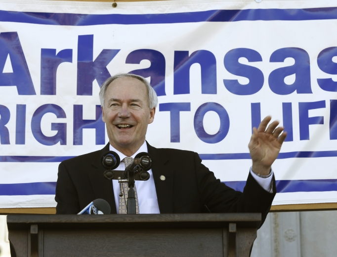 Arkansas Gov. Asa Hutchinson, shown speaking at a pro-life rally at the Arkansas State Capitol in Little Rock, signed legislation March 29 making Arkansas the eighth state in the country to ban sex-selective abortions.