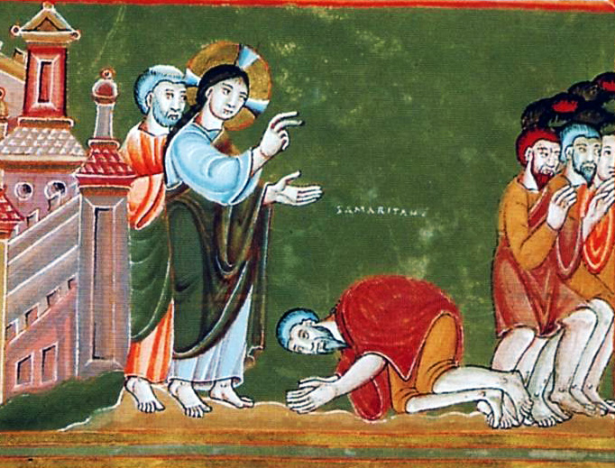 """""""Cleansing of the Ten Lepers"""" in the Codex Aureus Epternacensis (c. 1035-1040)"""