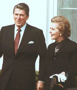 Margaret Thatcher with Ronald Reagan in 1981.