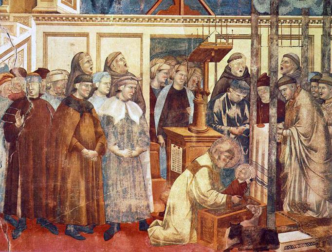 """Giotto di Bondone, """"Institution of the Crib at Greccio,"""" 1295"""