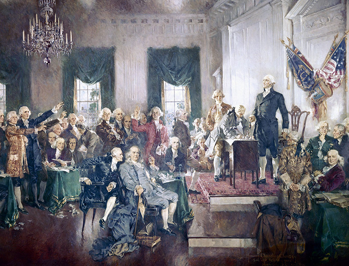 """Howard Chandler Christy, """"Scene at the Signing of the Constitution of the United States"""" (1940, Public Domain, via Wikimedia Commons)"""