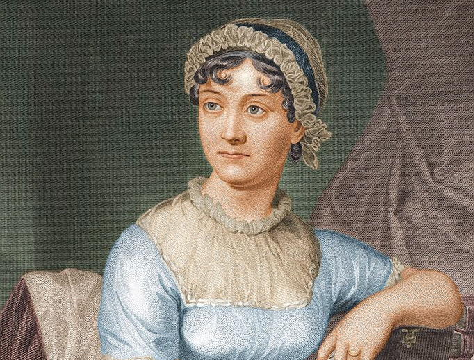 Colorized version of an 1872 re-engraving of Jane Austen