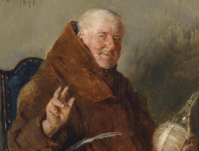 """Ernst Karl Georg Zimmermann, """"A Cheerful Monk,"""" 1878"""