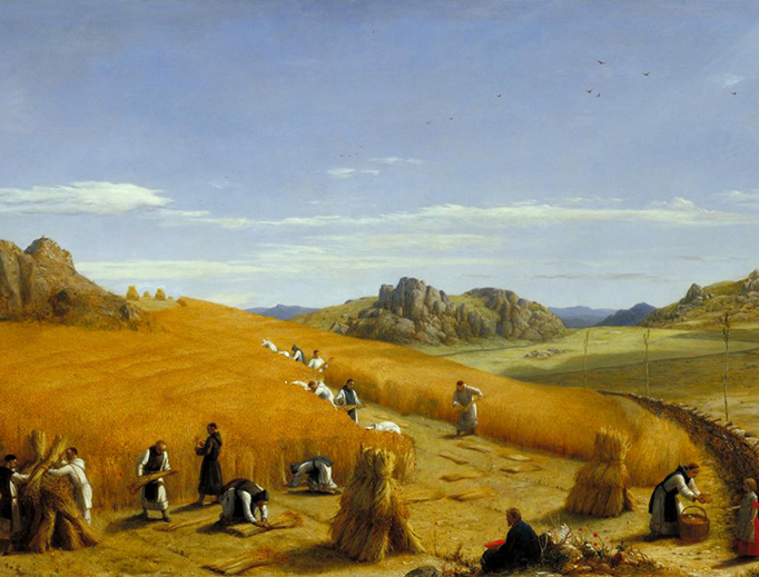 "John Rogers Herbert, ""Laborare est Orare"", 1862, depicts the monks of St. Bernard's Abbey Leicester gathering the harvest of 1861."