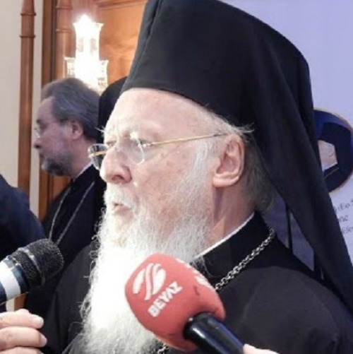Patriarch Bartholomew I of Constantinople speaks to journalists about meeting with Pope Francis on Nov. 29.