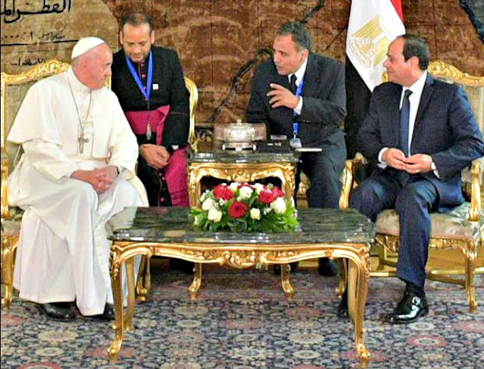 Pope Francis meets with Egyptian President Abdel-Fattah el-Sissi in Cairo, Egypt, April 28.