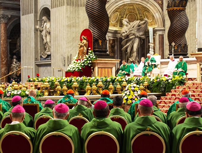 Pope Francis celebrated the closing Mass of the Synod of Bishops for the Pan-Amazon region, in St. Peter's Basilica, Oct. 27, 2019.
