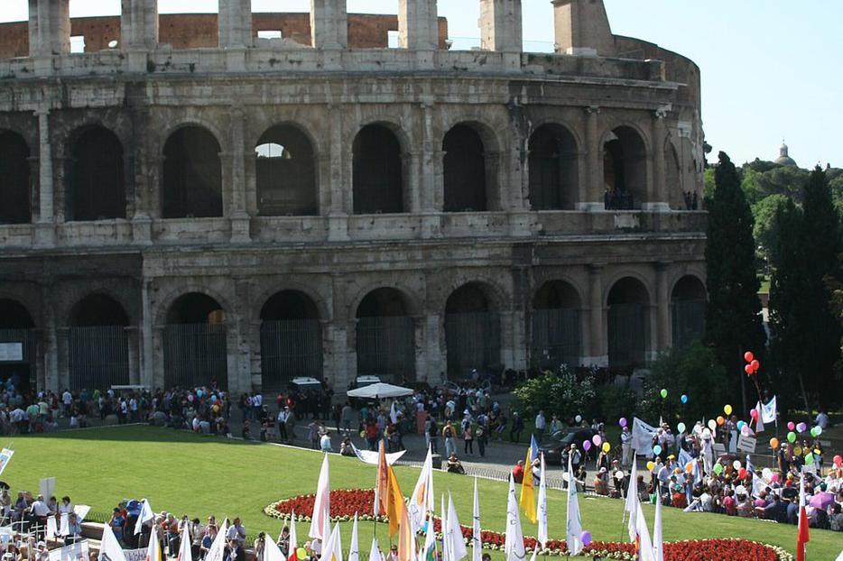 Participants gather near the Colosseum for the 2012 March for Life in Rome.