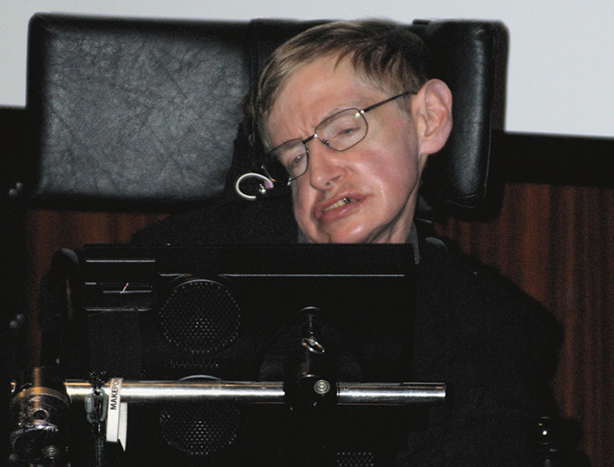 Stephen Hawking appears during the 2006 press conference at the National Library of France to inaugurate the Laboratory of Astronomy and Particles in Paris.