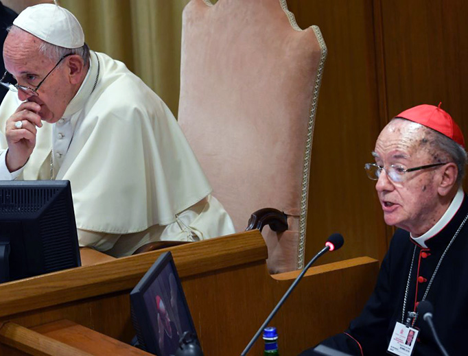 Pope Francis listens as Cardinal Claudio Hummes addresses the Special Assembly of the Synod of Bishops for the Pan-Amazon Region, Oct. 7, 2019, at the Vatican.