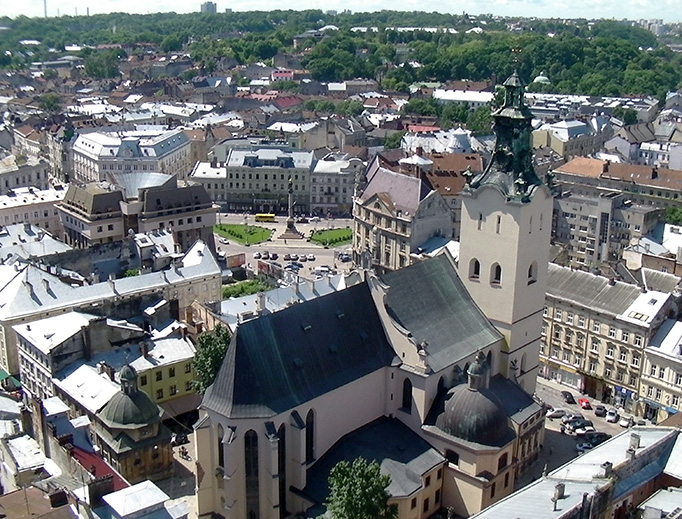 The 14th-century Archcathedral Basilica of the Assumption of the Blessed Virgin Mary is the seat of the Latin Rite metropolitan archbishop of Lviv, Ukraine.