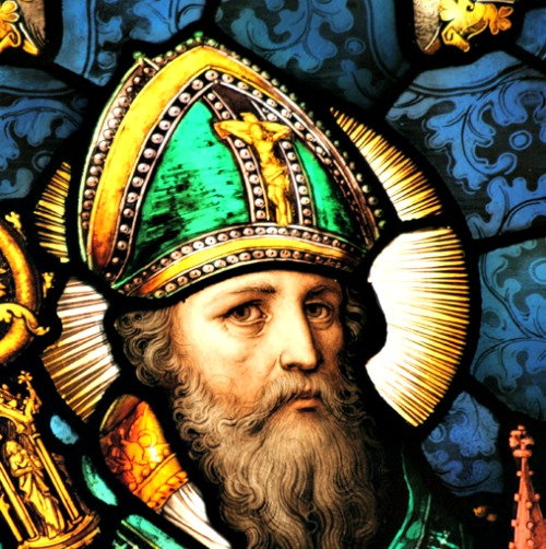 St. Patrick; below, a Montserratian islander in costume for St. Patrick's week.