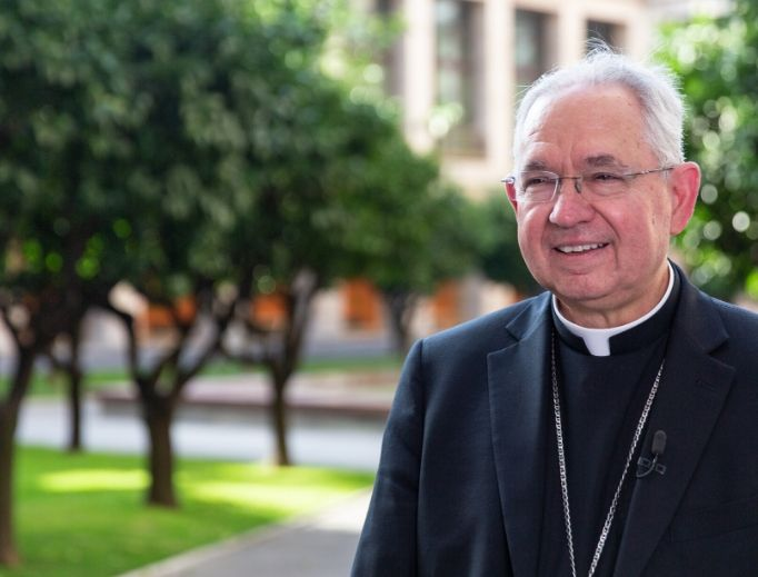 Archbishop José Gomez of Los Angeles, the newly elected president of the U.S. Conference of Catholic Bishops, visits the North American College in Rome Sept. 16.