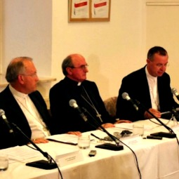 Archbishops Anton Stres (left) and Marjan Turnsek (right) announce their resignations at a July 31 news conference.