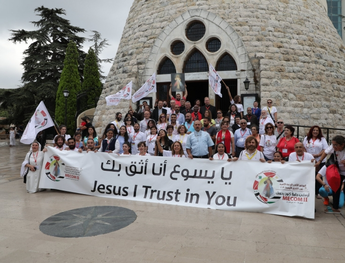 Above, participants in the second Middle East Congress on Divine Mercy (MECOM II) in Lebanon gather at Our Lady of Lebanon, Harissa. Highlights of this month's congress included a procession with and Mass in the presence of the relics of St. Faustina Kowalska, St. John Paul II and Blessed Father Michael Sopocko, the confessor and spiritual director of St. Faustina. Participants also prayed the Chaplet of Divine Mercy in the Forest of the Cedars of God. Below, congress participants joyfully gather after praying the chaplet near Becharre, Lebanon; and Sisters Lina and Rima Barakat, Syriac Catholic Ephremite Sisters of the Daughters of Mary, Mother of Mercy, from Homs, Syria, also attended.The sisters are twins.