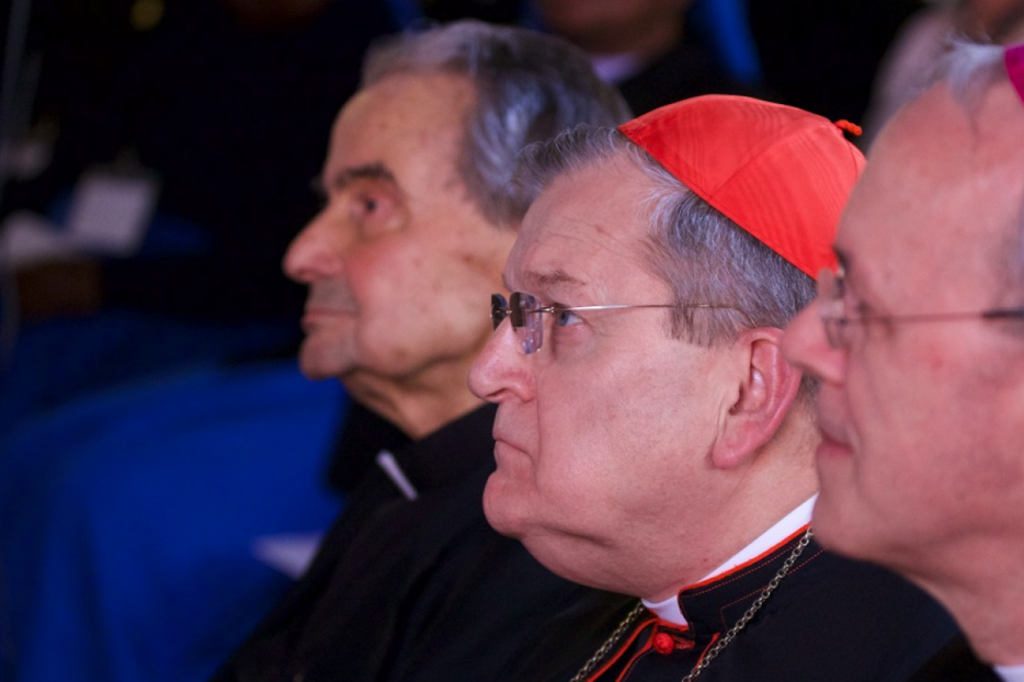Cardinals Carlo Caffarra and Raymond Burke attending the Rome Life Forum, Rome, May 19, 2017.