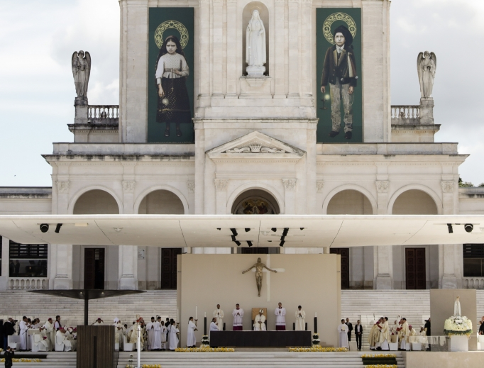 Above, the canonization Mass for Sts. Francisco and Jacinta Marto on May 13, the feast of Our Lady of Fatima. Today marks 100 years after the first Marian apparition.