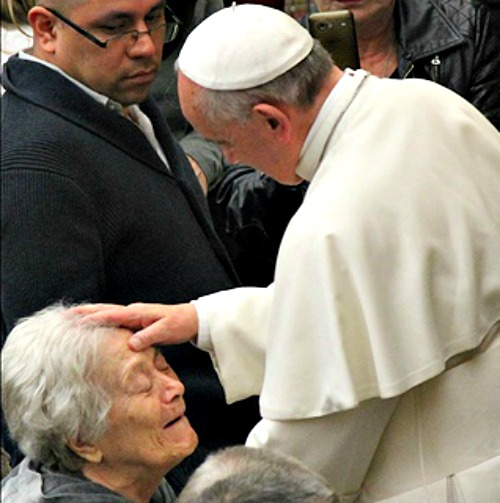 Pope Francis greets attendees at an audience last March.