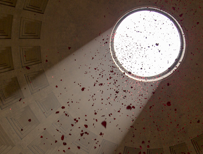 The feast of Pentecost is celebrated at Rome's Pantheon with traditional rose petals on June 4, 2017.