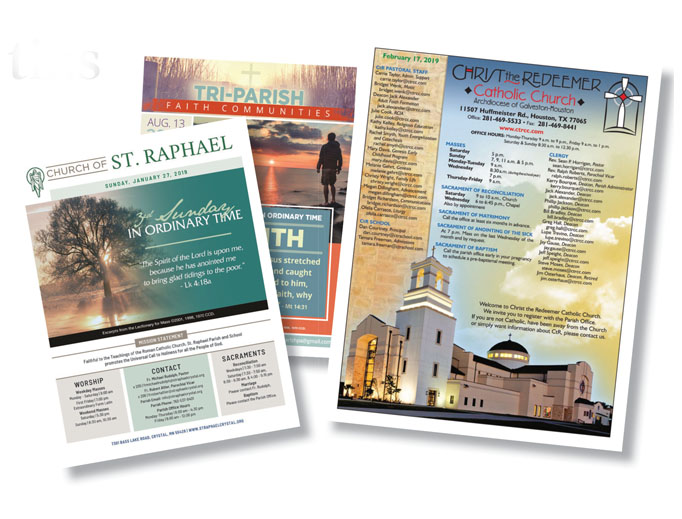 Christ the Redeemer in Houston (bulletin shown above right) is among many parishes that say printed bulletins are not passé.