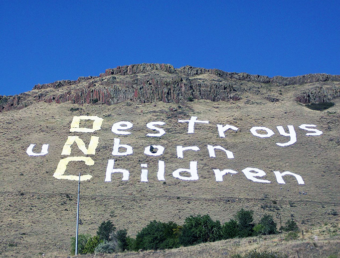 """Abortion protest sign on North Table Mountain outside Denver, during the 2008 Democratic National Convention. The sign reads """"(DNC) Destroys uNborn Children"""" and is made of sheets sown together."""