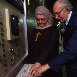 ON THE AIR. Mother Angelica and the late Piet Derksen, a Dutch businessman, devout Catholic and philanthropist who helped Mother Angelica launch EWTN's worldwide shortwave operation, WEWN, in 1992. EWTN Radio is celebrating its 20th anniversary.