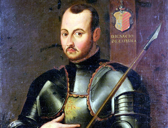 St. Ignatius of Loyola, founder of the Society of Jesus, depicted in armor