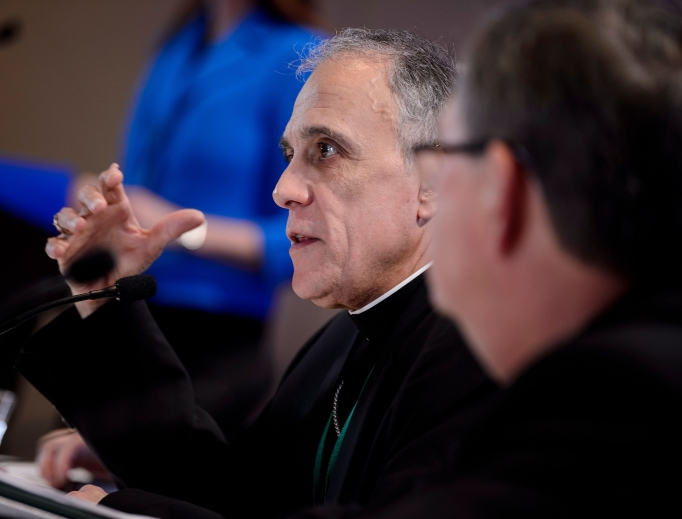 Cardinal Daniel DiNardo, the president of the U.S. Conference of Catholic Bishops, speaks during a press conference at the conference's annual gathering Nov. 12 in Baltimore.