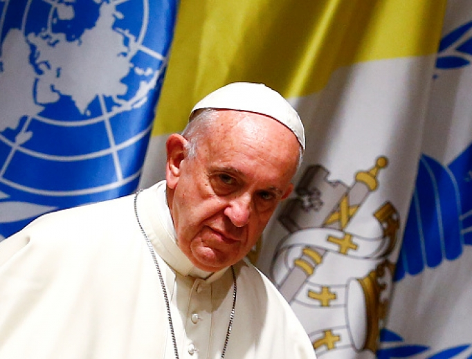 Pope Francis looks on as he arrives for a visit to the United Nations World Food Program headquarters in Rome on June 13, 2016.