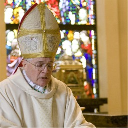 Bishop Edward Slattery of Tulsa at the Mass of consecration for the Immaculate Conception chapel at Catholic Charities. The chapel forms the core of the 72,000 sq ft. facility dedicated Dec. 7, 2009.