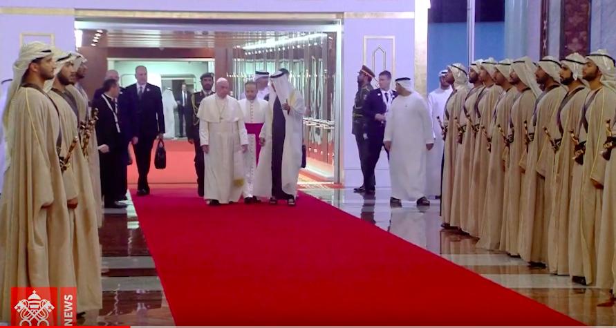 Pope Francis arriving in Abu Dhabi.