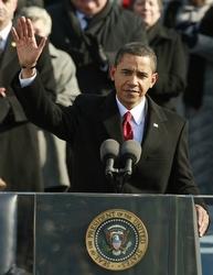 President Obama waves after being sworn in.