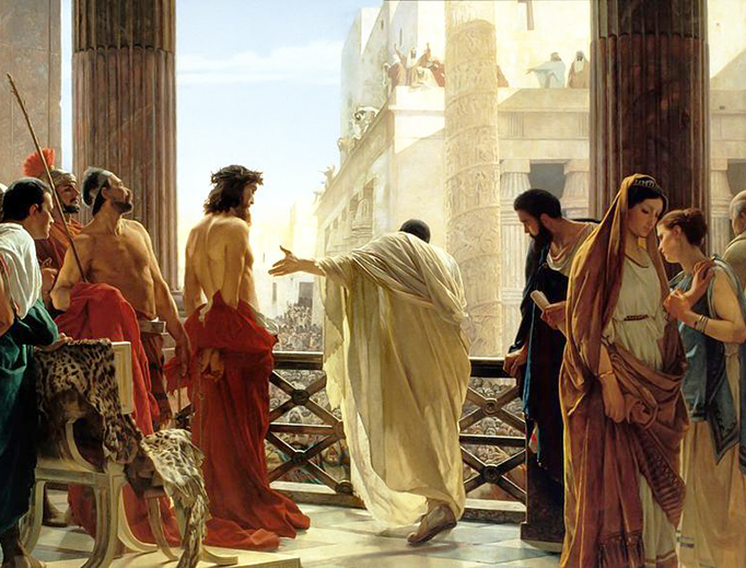 """John 18:37-38: """"So Pilate said to him, 'Then you are a king?' Jesus answered, 'You say I am a king. For this I was born and for this I came into the world, to testify to the truth. Everyone who belongs to the truth listens to my voice.' Pilate said to him, 'What is truth?'"""""""
