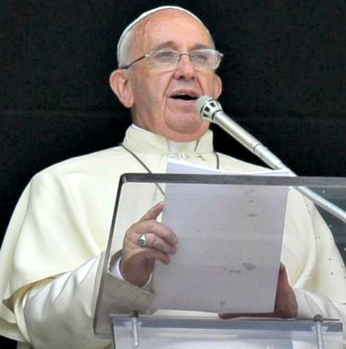 Pope Francis speaks to the crowd gathered in St. Peter's Square on June 15 before the Angelus.