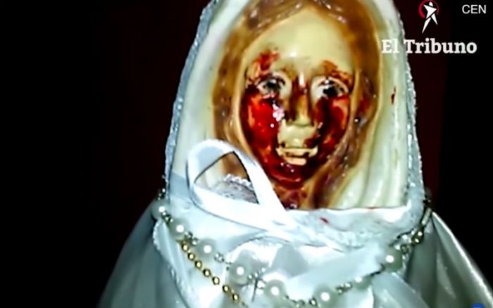 Blessed Virgin Mary statue crying blood