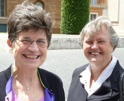 Sister Pat Farrell, OSF, the president of the Leadership Conference of Women Religious, and Sister Janet Mock, CSJ, the group's executive director, in Rome on June 12 for their meeting at the Vatican's Congregation for the Doctrine of the Faith.