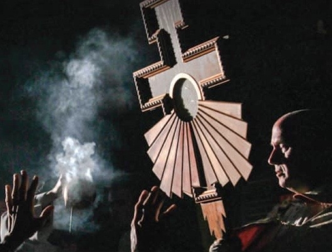 Eucharistic procession is held during a Franciscan University conference in 2019.