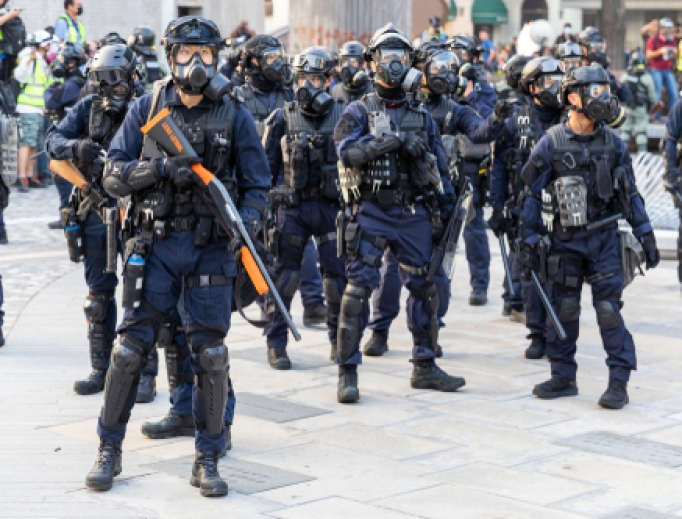 Riot police armed with weapons on the streets of Hong Kong, December 1, 2019.