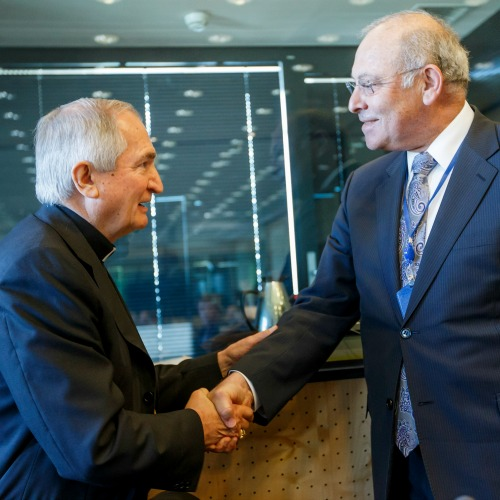 Archbishop Silvano Tomasi (l), permanent observer of the Holy See to the United Nations, meets May 5 in Geneva with Claudio Grossmann, chairman of the U.N. Committee Against Torture.