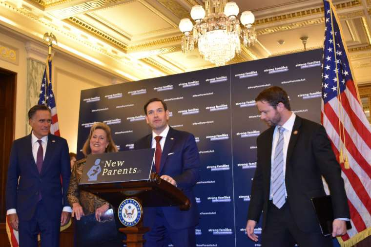 Sen. Marco Rubio, Sen. Mitt Romney, Rep. Ann Wagner and Rep. Dan Crenshaw at a press conference to announce the New Parents Act.