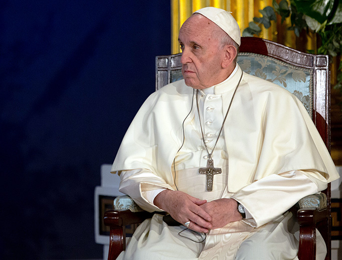 Pope Francis at St. Patrick's Hall in Dublin Castle, Aug. 25, 2018.