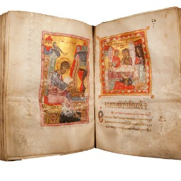 An early Bible displayed in the Verbum Domini exhibit in Rome.