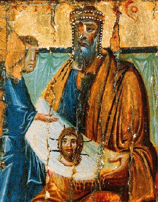 Abgar receives the Image of Edessa (the Mandylion), 10th century.