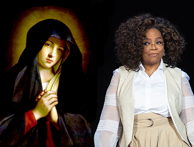 "LEFT: Giovanni Battista Salvi da Sassoferrato, ""The Madonna in Sorrow."" RIGHT: Oprah Winfrey speaks Saturday to a crowd of 15,000 in Denver (Photo by Tom Cooper/Getty Images)."