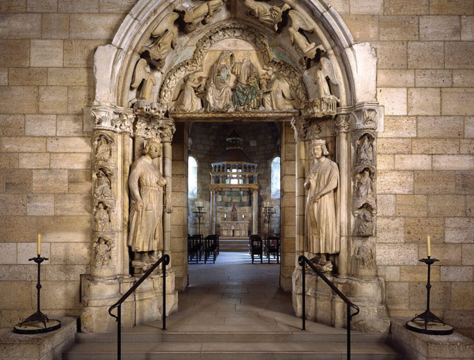 COVERING HISTORY. The doorway of Moutiers-Saint-Jean, the Virgin and Child.