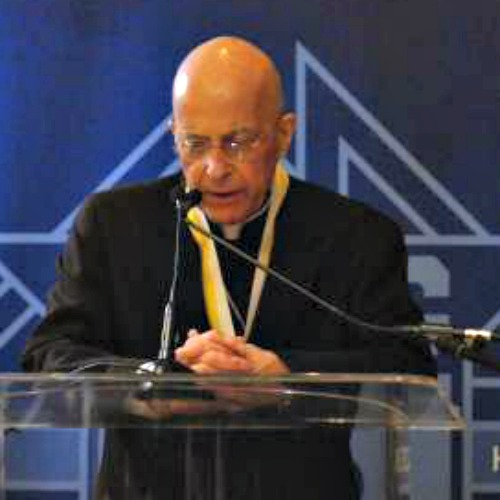 Cardinal Francis George speaks Jan. 30 after receiving the Gaudium et Spes Award medal from the Knights of Columbus.