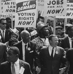 Civil-rights leaders march from the Washington Monument to the Lincoln Memorial on Aug. 28, 1963.