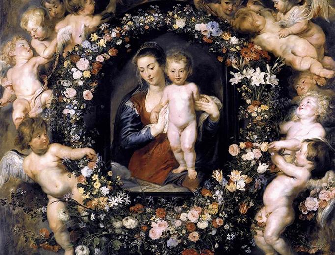 "Peter Paul Rubens, with Jan Brueghel the Elder, ""Madonna on Floral Wreath,"" c. 1619"