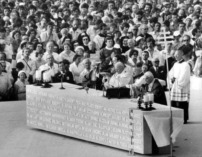 Pope John Paul II celebrates Mass at Victory Square in Warsaw in June 1979 during his first trip to Poland as pope.