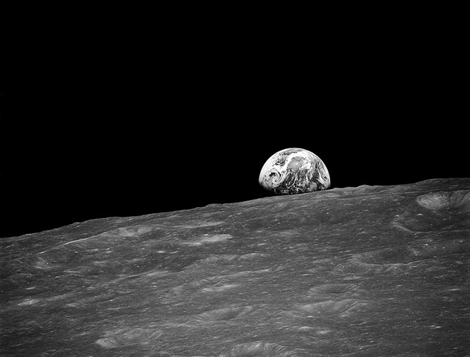 The first photograph taken by humans of Earthrise during Apollo 8, Dec. 24, 1968